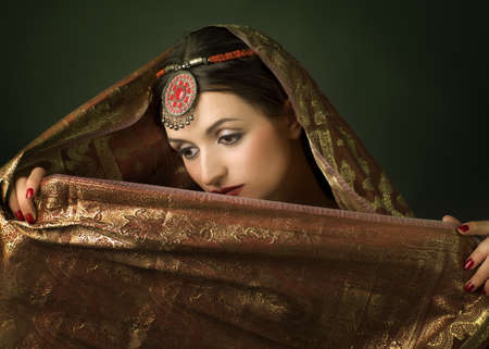 Beautiful brunette portrait with traditionl costume. Indian style Stock Photo - 9372876