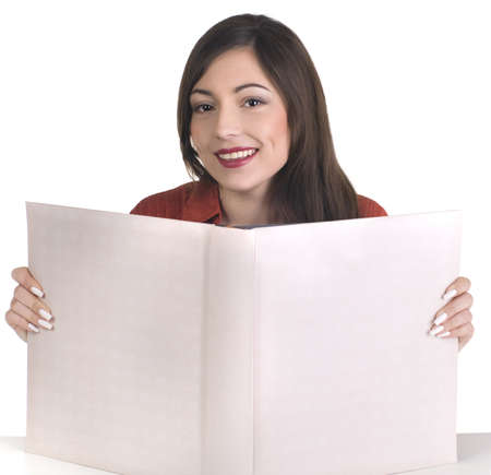 portrait of beautiful girl with book on white photo