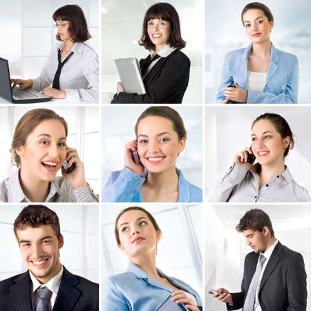 Business collage made of 9 business pictures photo