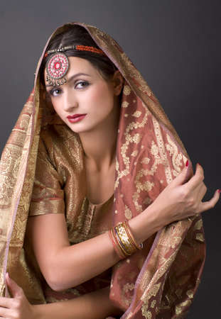 Beautiful brunette portrait with traditionl costume. Indian style Stock Photo - 9503898