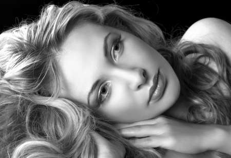 glamour style portrait of pretty woman in Black & White  photo