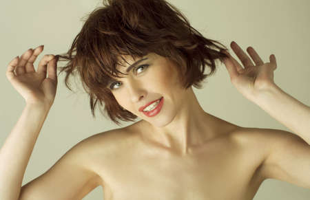 portrait of a beautiful young woman with brown short hairs Stock Photo - 9561153