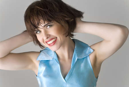 portrait of a beautiful young woman with brown short hairs  photo