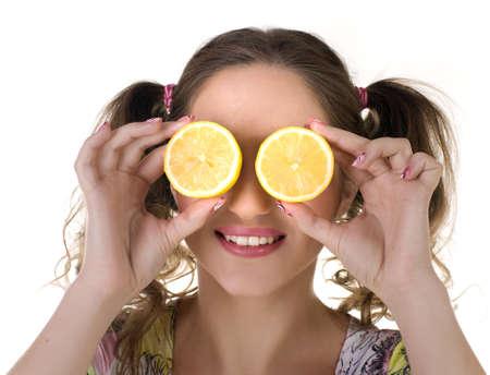 beautifu: beautifu cute girl with lemon