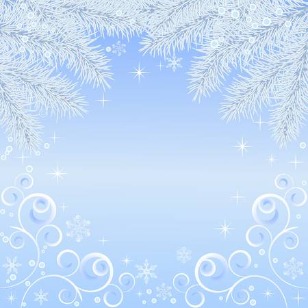 blue christmas background with snowflake, vector illustration  Vector