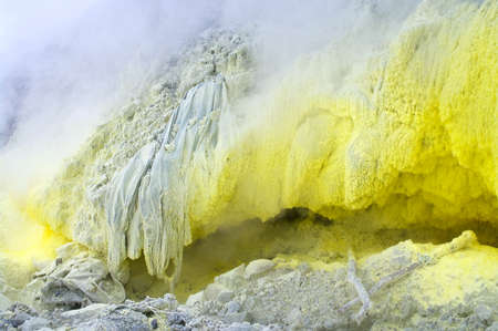 Sulfurous fumaroles in  volcano Mount Sinabung  at North Sumatera, Indonesia photo