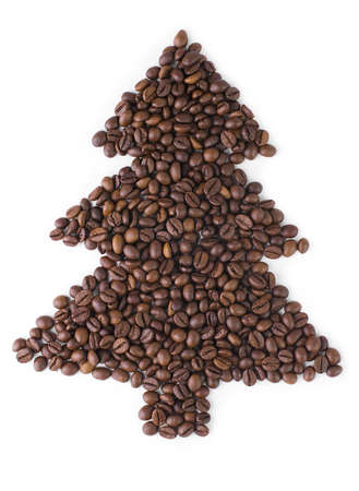 Christmas Tree  made from coffee beans.  photo