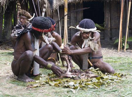 Nuova Guinea: Nuova Guinea, Indonesia-28 dicembre: identificati i guerrieri di una trib� di Papua in abiti tradizionali e coloranti in Nuova Guinea, Indonesia su 28 Dicembre 2010