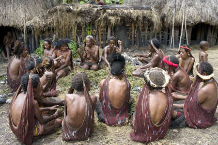 28: NEW GUINEA, INDONESIA -DECEMBER 28: Unidentified women of a Papuan tribe in traditional clothes and coloring in New Guinea Island, Indonesia on December 28, 2010