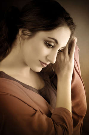 Portrait of beautiful brunette . Indian style Stock Photo - 11737888