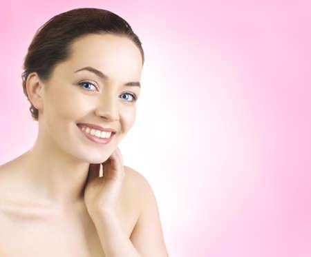 piel humana: Close up retrato de una bella modelo femenino Foto de archivo