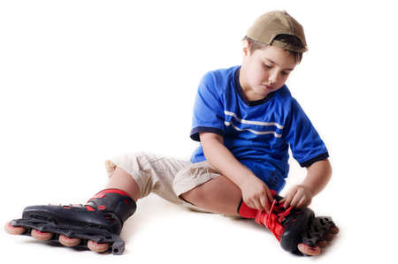 little boy on roller skates  photo