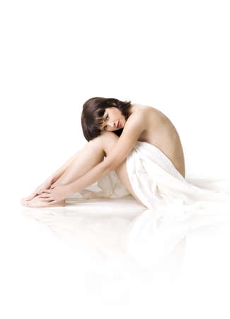 nude nature: Spa girl on a white background  Stock Photo