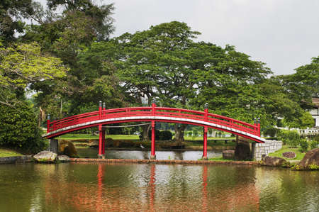 pedestrian bridge: Japanese garden landscape in Singapore  Stock Photo