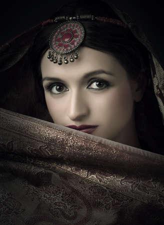 sari: Hermoso retrato morena con traje tradicional de la India Foto de archivo