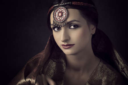 Portrait of Beautiful  indian brunette woman   photo