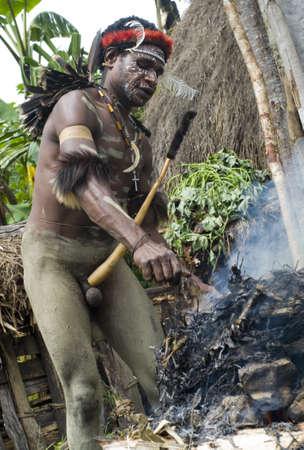 기니: 뉴 기니, 인도네시아 -12 월 28 일 : 파푸아 부족의 미확인 전사 2010년 12월 28일에 뉴 기니 섬, 인도네시아, 요리 돼지의 지구 오븐 방법을 사용