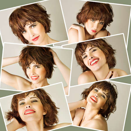 Collage with young beautiful woman with brown short hairs