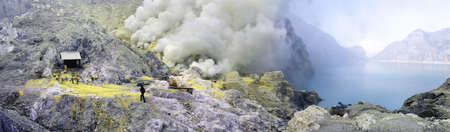 Panorama of sulphatic lake in a crater of volcano Ijen. Java. Indonesia