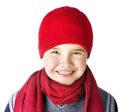 kiddy:  boy is in a winter red cap