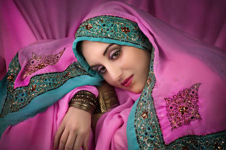 Portrait of young beautiful  woman in traditional indian costume  Stock Photo - 12666986