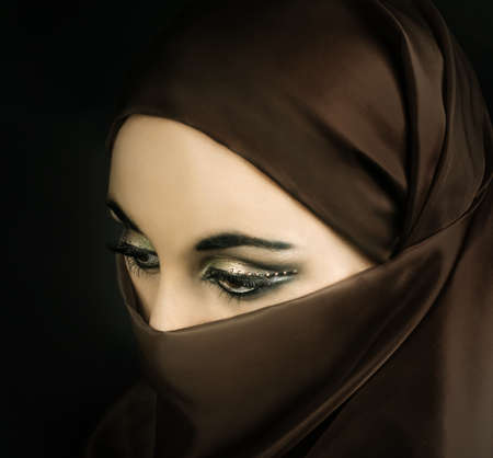 burqa: Portrait of a young   muslim girl