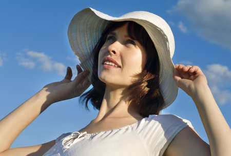 sun hat: Attractive young woman with a hat