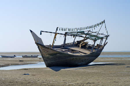 shipwreck: The old ship in the dried up sea, Oman  Stock Photo