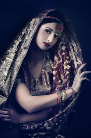 arab glamour: Beautiful brunette portrait with traditionl costume. Indian style