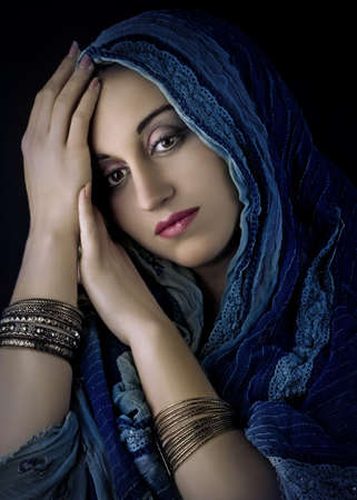 beauty girl pretty: Portrait of young beautiful woman in traditional  costume