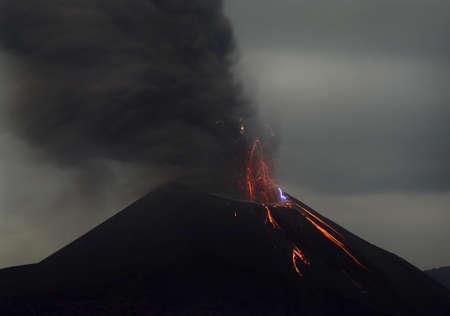 Night volcano eruption  Anak Krakatau, Indonesia  photo