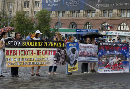 public demonstration: KHARKIV, UKRAINE MAY 16 Organized rally protect of animals in connection with murder homeless animals to  EURO Championship while public demonstration of cup UEFA in Kharkiv, Ukraine on May16, 2012