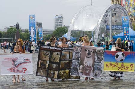 KHARKIV, UKRAINE MAY 16 Organised rally protect of animals while Public demonstration of the cup UEFA on the Freedom Square  in Kharkiv, Ukraine on May 16, 2012    Stock Photo - 13651657
