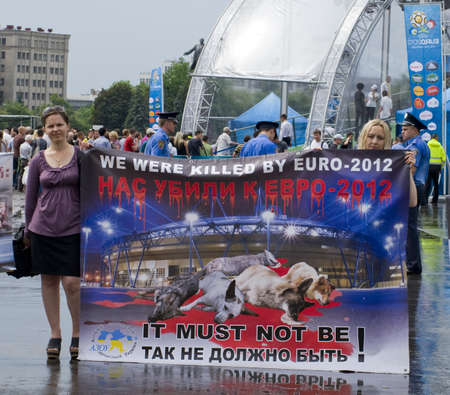 public demonstration: KHARKIV, UKRAINE MAY 16 Organised rally protect of animals while Public demonstration of the cup UEFA on the Freedom Square  in Kharkiv, Ukraine on May 16, 2012