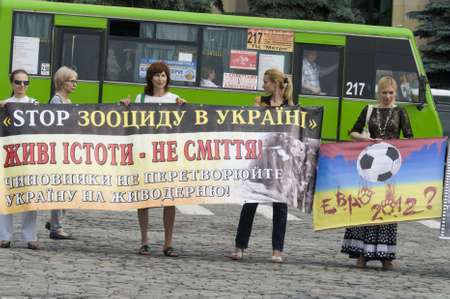 KHARKIV, UKRAINE MAY 16 Organised rally protect of animals while Public demonstration of the cup UEFA on the Freedom Square  in Kharkiv, Ukraine on May 16, 2012
