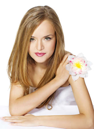 Portrait Beautiful girl with flower  photo