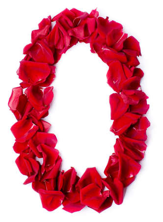 number 0 made from red petals rose photo