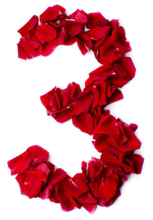 number 3 made from red petals rose Stock Photo - 13859896