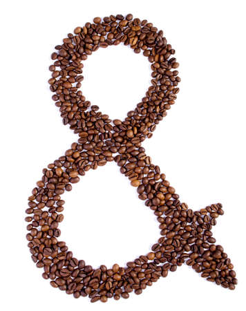 Ampersand symbol from coffee beans  isolated on white Stock Photo - 14232300