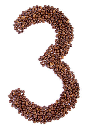 arabica: number 3 from coffee beans  isolated on white