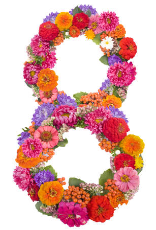 number 8 made from flowers photo