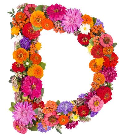 gerber flowers isolated on: D,flower alphabet isolated on white