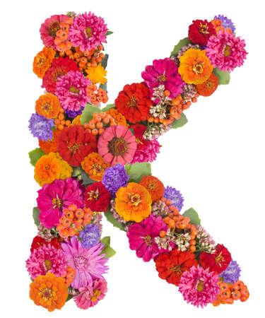 K, flower alphabet isolated on white