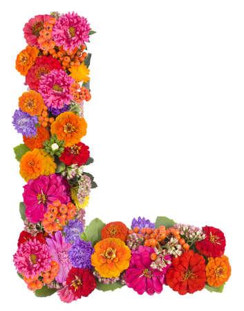 L, flower alphabet isolated on white  photo