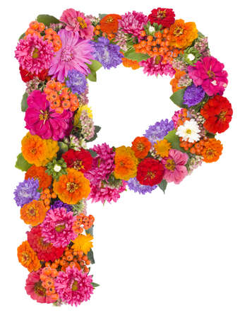 P,flower alphabet isolated on white  Archivio Fotografico