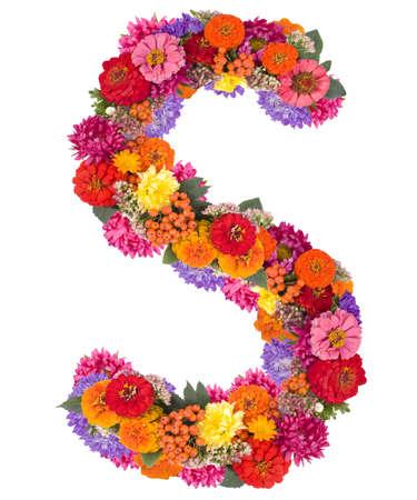 S, flower alphabet isolated on white  Stok Fotoğraf