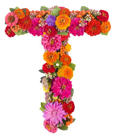 T, flower alphabet isolated on white  photo