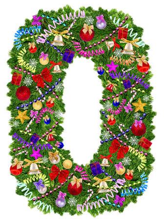 番号は 0 です。白い背景の上のクリスマス ツリーの装飾