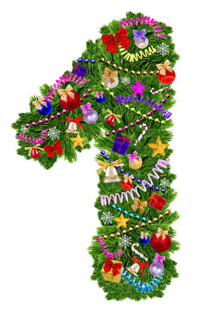 Number 1. Christmas tree decoration on a white background Stockfoto