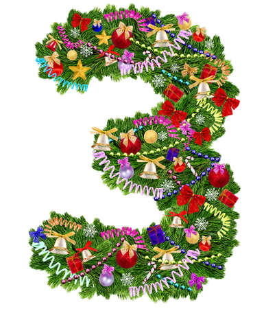 Number 3. Christmas tree decoration on a white background